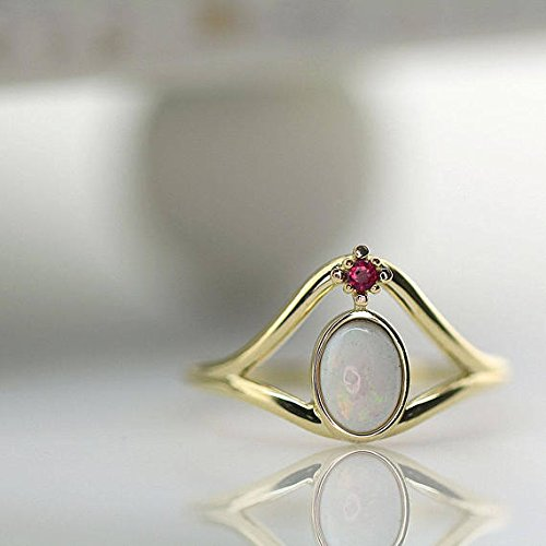 Tourmaline Center (Unique Opal Center Stone and Pink Tourmaline Ring in 14K Solid Gold, Natural Opal Ring, One-of-a-kind Ring, Opal with Tourmaline Ring)
