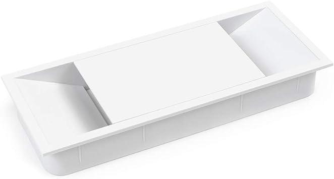 Emuca - Tapa pasacables para encastrar en escritorio/mesa, organizador de cables para mueble, varias medidas y acabados (152x61mm (1 un), Blanco): Amazon.es: Bricolaje y herramientas