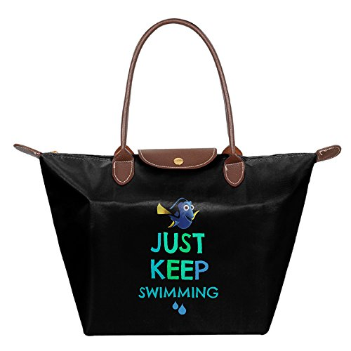 FALKING Women's Finding Fish Just Keep Swimming Waterproof Tote Shoulder Bag For Beach Shopping With Zipper