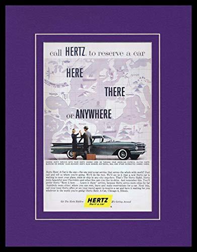 - 1955 Hertz Rent a Car/Chevy Framed 11x14 ORIGINAL Vintage Advertisement
