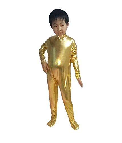 Lycra Bodysuits Australia (WOLF UNITARD Kids Shiny Metallic Unitard Dancewear Bodysuit Large Gold)