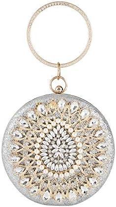 ヨーロッパとアメリカの真珠のハンドバッグ、女性の宴会ドレスイブニングラウンドディナーバッグ、3色、16 * 16 * 6 Cm 美しいファッション (Color : Silver)