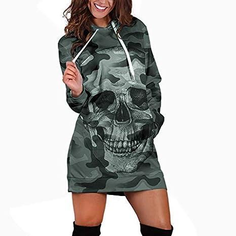 CLOOM Sudadera Vestidos Mujer Sexy Steampunk Calavera Impresión ...