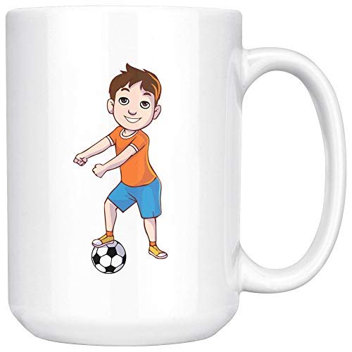 Floss Like A Soccer Boss White Coffee Mug 15 oz, Flossing Dance Gifts for Football Soccer Players