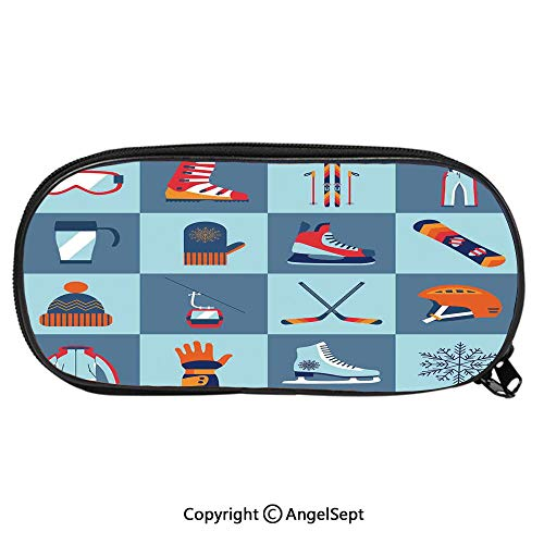Pencil CaseIce Skating Winter Sports Skiing Boot Cap Glasses Glove Helmet Skates Snowboard Print for Pen Holder with Zipper Children Back to School Big Capacity Pencil Pouch Student Sturdy Polyester ()