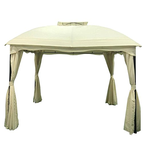 Great Deal Furniture Ava Outdoor 12' by 10' Water Resistant Fabric and Steel Gazebo, Ecru