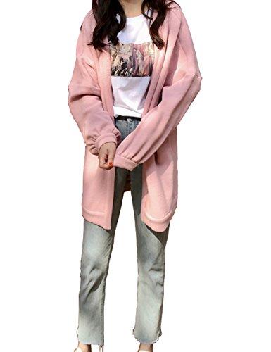 Lisa Pulster レディース カーディガン ボレロ レディース ゆったり カーディガン ニット セーター 無地 ラグラン ボタン無し 膝丈 ピンク ブラック