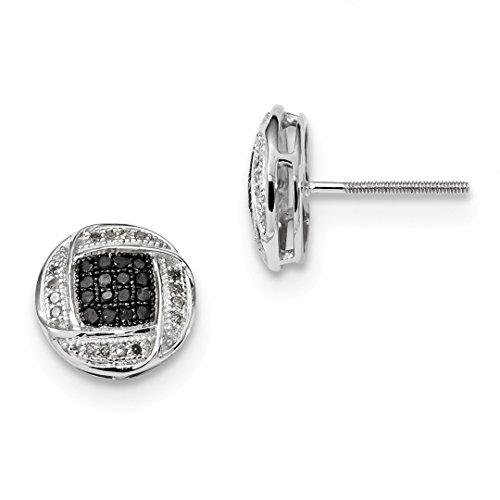 - 925 Sterling Silver Black White Diamond Ball Button Stud Earrings Fine Jewelry For Women Gift Set