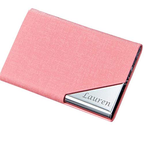 - Personalized Pink Leather Magnetic Business Card Case Holder Engraved Free