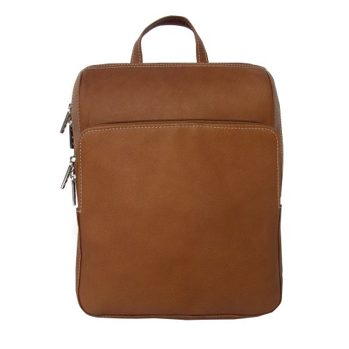 Piel Leather Slim Front Pocket Backpack in Saddle