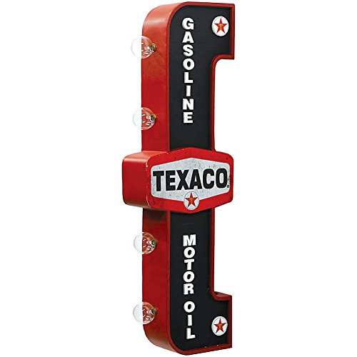 Texaco Lighted Marquee Sign - Vintage Metal w/ 4 Glowing LEDs Ready To Mount