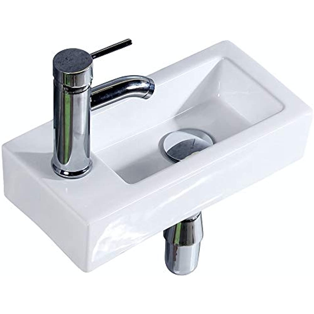 Details About Bathroom Corner Wall Mount Sink Ceramic White For Small  Bathroom, Left Hand,