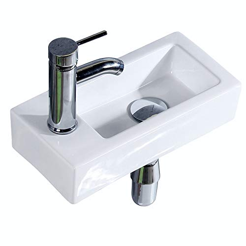 - Gimify Bathroom Corner Sink, Mini Wall Mount Sink Toilet Vessel Sink Ceramic White for Small Bathroom, Left Hand