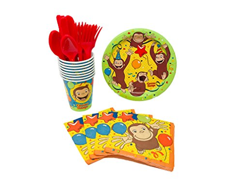 Unique Industries Curious George Birthday Party Supplies Snack Pack for 8 Guests Including Dessert Plates, Beverage Napkins, Cups and - Cake Curious George Plates