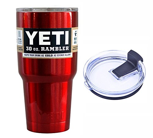 YETI Coolers 30 Ounce (30oz) (30 oz) Custom Rambler Tumbler Cup Mug with Exclusive Spill Resistant Lid (Red Metallic)
