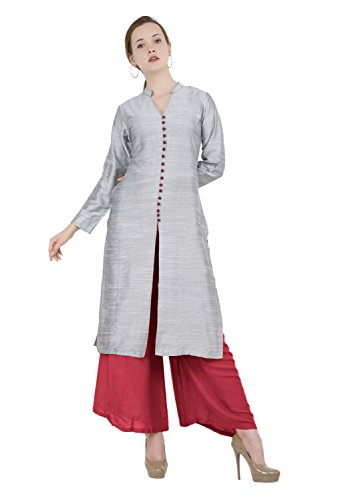 - Lagi Designer Women's Polly Silk Straight Kurta Indian Tunic Top Womens Printed Blouse India Clothing by XX-Large (Silver)