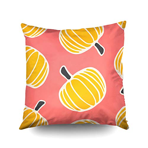Capsceoll Halloween Pattern Pumpkins in Orange Cream Decorative Throw Pillow Case 18X18Inch,Home Decoration Pillowcase Zippered Pillow Covers Cushion Cover with Words for Book Lover Worm Sofa Couch