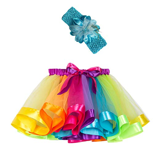 Sunhusing Adorable Girls Rainbow Tutu Skirt + Hair Strap Two-Piece Suit Toddler Party Dance Ballet Costume Skirt ()