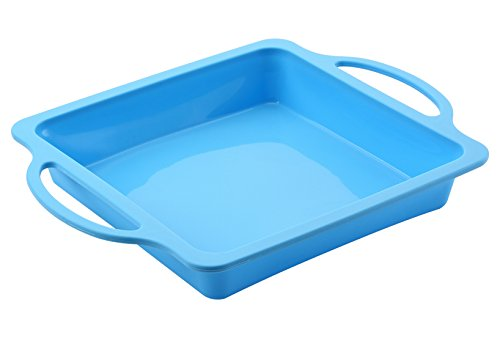 The Original Brand, TRENDS home 8 Inch Square Silicone Baking Pans. Silicone bakeware with reinforced frame for Durability & Strength of a metal pan but flexibility of silicone baking molds.