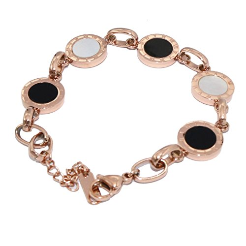 Baoli Titanium Steel Rose Gold White Black Shell Roman Numerals Bracelet Link Chain for Women Adjustable