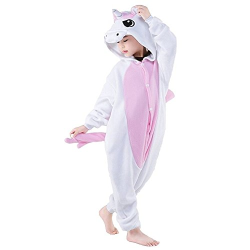 "Kid Animal Pajamas Cosplay Pyjamas Sleepwear Children Halloween Costume (125 for height 130cm-140cm(51""-55""), Pink unicorn) -"