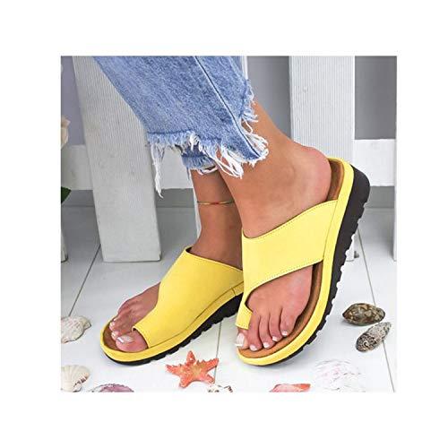 b12e2ea44a Women Pu Leather Shoes Comfy Platform Flat Sole Casual Soft Big Toe Foot  Correction Sandal,Yellow,5
