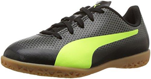 PUMA Unisex-Kids Spirit IT Soccer-Shoes, Puma Black-Fizzy Yellow-Castor Gray, 4.5 M US Big Kid