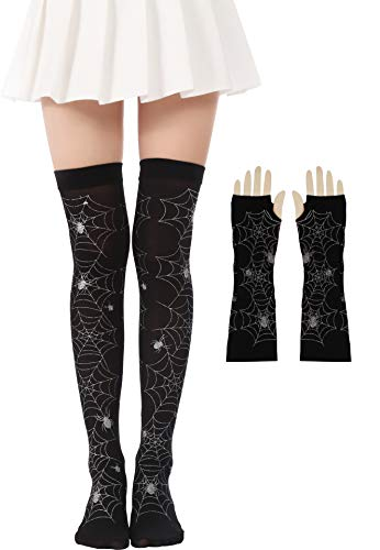 Women Halloween Thigh High Long Stockings Over Knee Costume St. Patrick's Day Tights (32-Silver Spider Web Set)