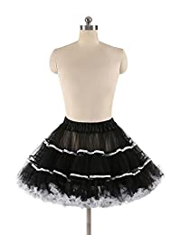 EESIM Adult Vintage Tulle Tutu Skirt Ruffled Layered Striped Petticoat for Dance Party Princess Dresses Underskirt