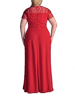 Sue&Joe Women's Plus Size Dresses Faux Wrap Short Sleeve Maxi Solid Evening Gown