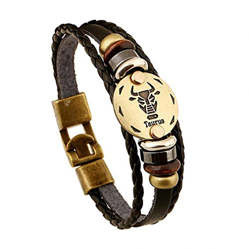 Giwotu 12 Constellations Bracelet Jewelry Leather Bracelet Men Casual Personality Zodiac Signs Punk Bracelet 11