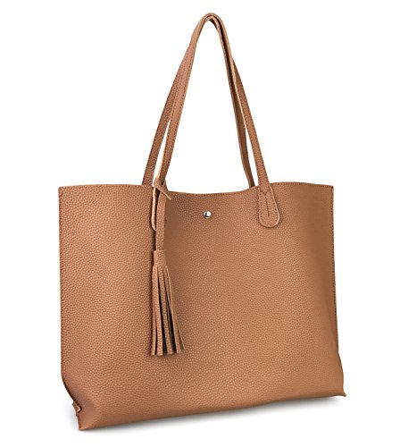 Minimalist Clean Cut Pebbled Faux Leather Tote Womens Shoulder Handbag (Brown)