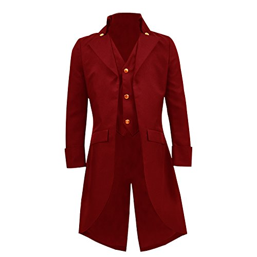 COSSKY Boys Gothic Tailcoat Jacket Steampunk Victorian Long Coat Halloween Costume (Red,10)