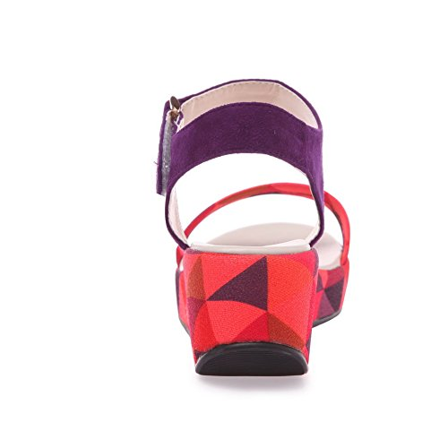 AmoonyFashion Womens Frosted Hook-and-loop Open-Toe High-Heels Assorted Colors Sandals Purple DhskKw