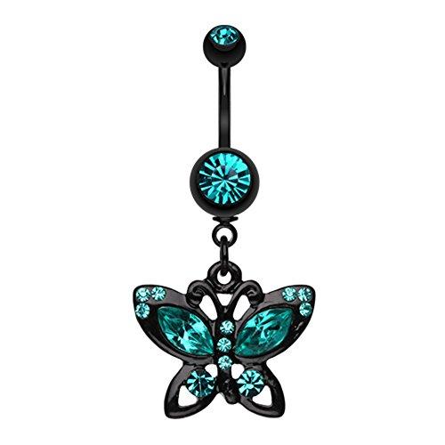 Blackline Butterfly Sparkle WildKlass Belly Button Ring