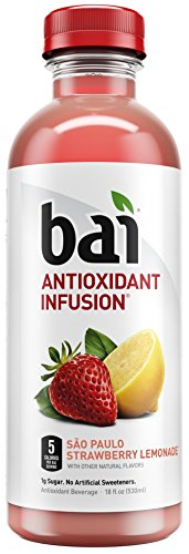 (Bai Flavored Water, São Paulo Strawberry Lemonade, Antioxidant Infused Drinks, 18 Fluid Ounce Bottles, 12 count)