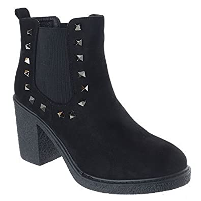 a2a46e4293904 Ladies Womens Mid High Block Heels New Chelsea Studded Platform Boots Shoes  Size [Black Faux