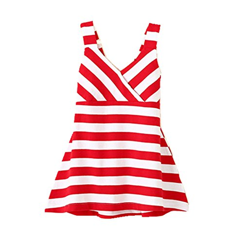 FTSUCQ Girls Striped Sleeveless Beach Pinafore Dress,Red - Pike In Beach Long