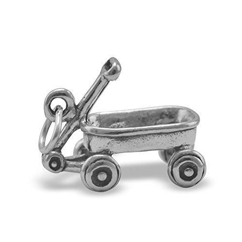 Oxidized Sterling Silver Charm, Wagon, 5/8 inch wide (Flyer Toy Box Radio)