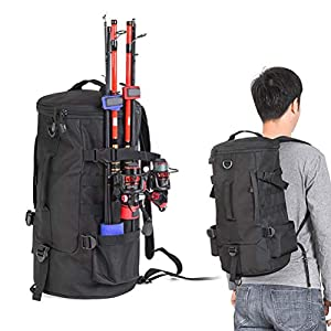 Fishing Cylindrical Backpack with Rod Holder