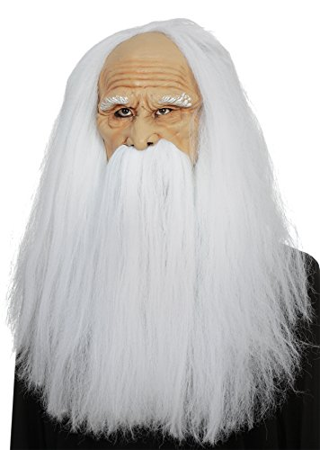 UHC Men's Old Wizard Latex Mask Theme Party Halloween Costume Accessory (Old Person Halloween Costume)