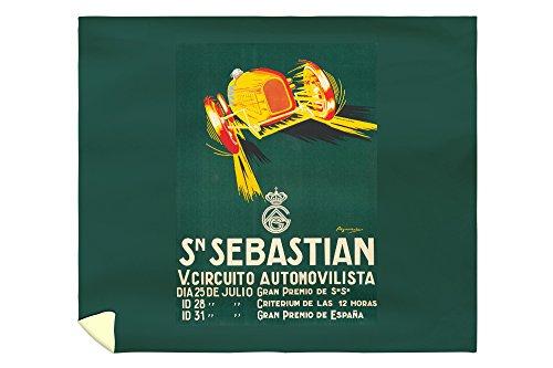 Sn Sebastian - V Circuito Automovilista Vintage Poster (artist: Aguirreche) Spain c. 1927 (88x104 King Microfiber Duvet Cover) by Lantern Press