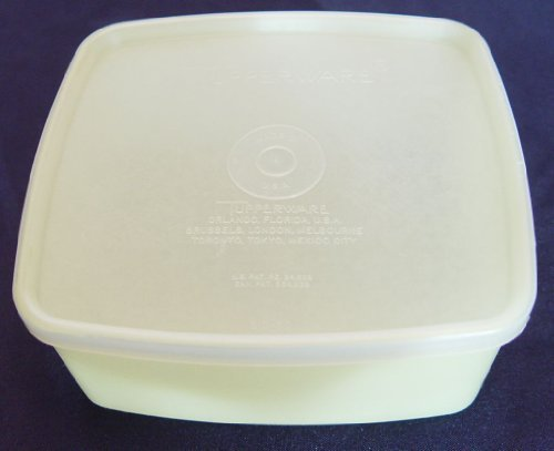 Tupperware 16 Ounce Square Round #311 Pastel Yellow with Sheer Seal # 310 (Tupperware Square Round Lids)
