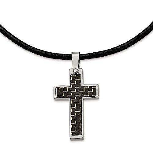 - ICE CARATS Stainless Steel Black Carbon Fiber Inlay Cross Religious 18 Inch Leather Link Cord Chain Necklace Man Pendant Charm Crucifix Fashion Jewelry Gift for Dad Mens for Him