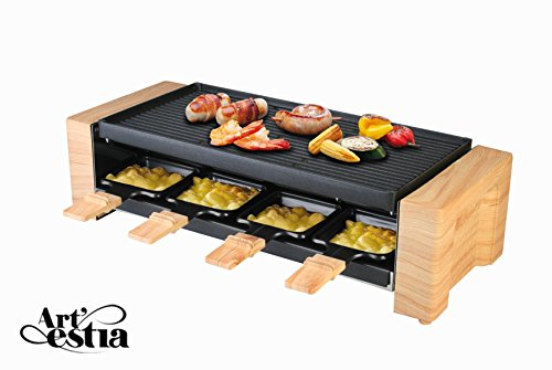 Artestia Electric Raclette Grill with Non-Stick Aluminum Plate, 1600W High Power ETL Certified, Separate Heat Source for Plate and Side Dishes, Serve the whole family (Aluminum Reversible Plate)