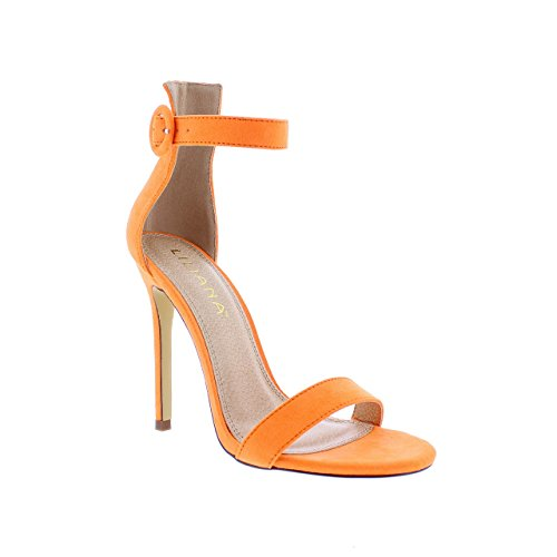 Liliana Heel w/Open Toe Ankle Strap Tisha14A (Orange 10)