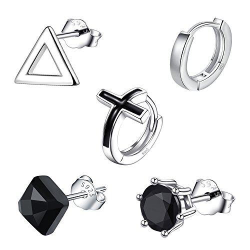 Earrings for Men, 5 SINGLE Mens Hoop Stud Earrings Set, 925 Sterling Silver CZ Hypoallergenic Fashion Jewelry, Black Triangle Cross Round Crown Style with Gift Box (5 SINGLE Mens Earrings -Style 2) ()
