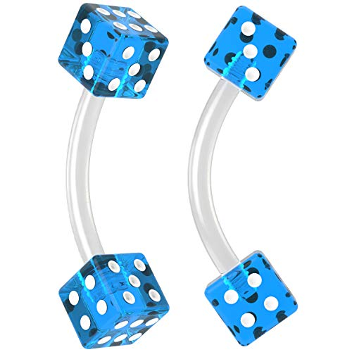- 2pc 16g Curved Barbell Cartilage Earrings Flexible Acrylic Tragus Rook Dice Blue Piercing Jewelry