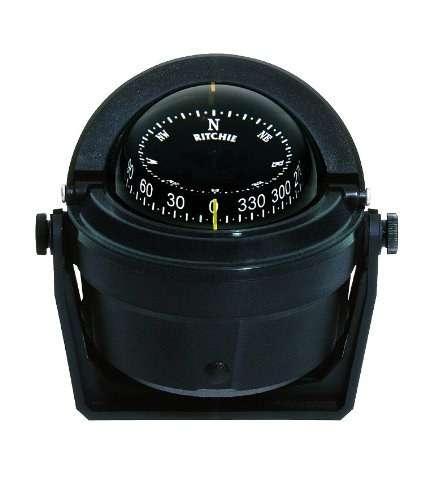 B-81 Ritchie Navigation Voyager Compass 3-Inch Dial with Bracket Mount (Black) by Ritchie