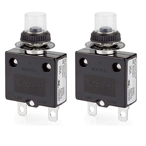DIYhz Thermal Circuit Breaker,98 Series 35A 125/250VAC Circuit Breaker Push-Button Reset with Quick Connect Terminals and Waterproof Button Cover 32VDC Thermal Overload Circuit Breaker - 35 Amp, 2Pcs